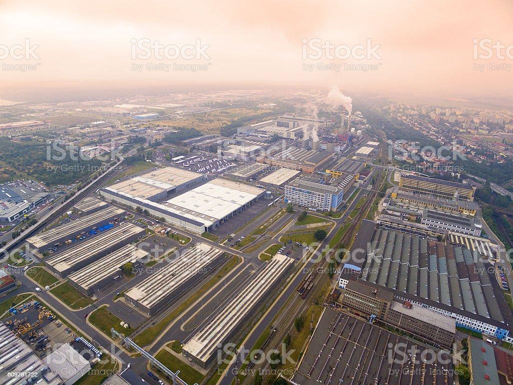 Toxic smog over industrial zone. stock photo