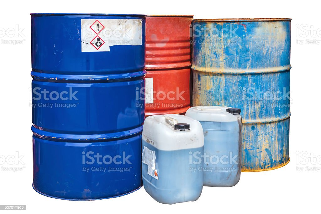 Toxic waste barrels isolated on white stock photo