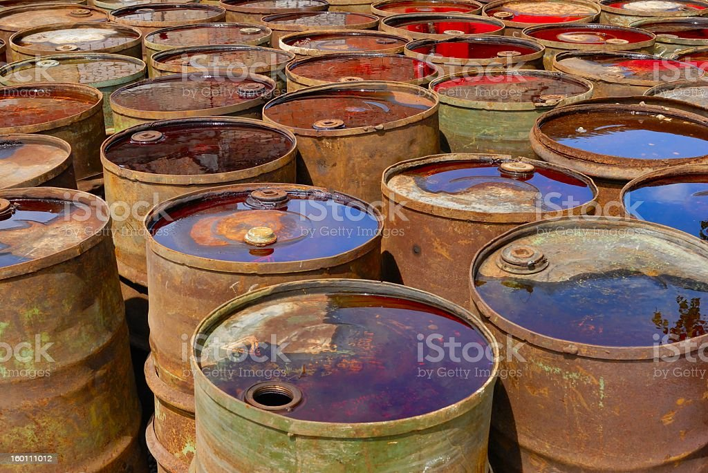 Toxic waste drums stock photo