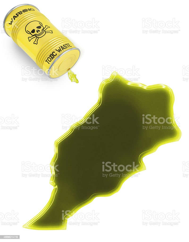 Toxic waste in the shape of Moroco (series) stock photo