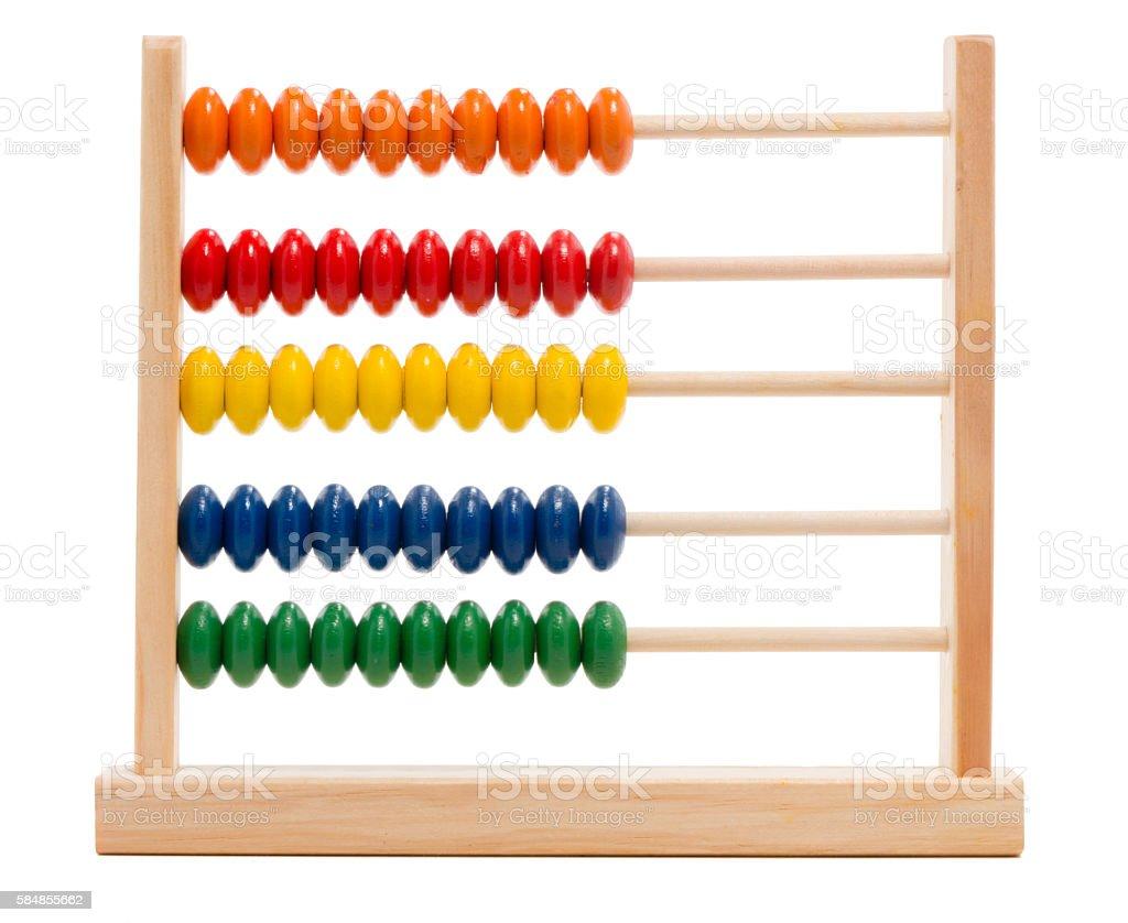 Toy abacus on white stock photo