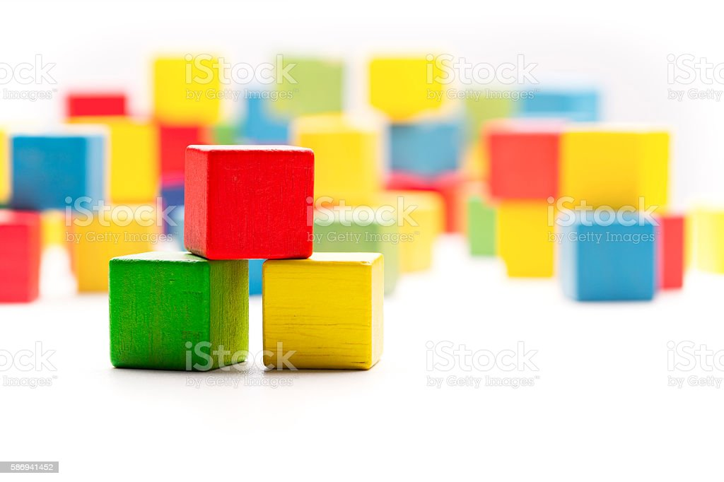 Toy Blocks Cubes, Three Wooden Babies Building Boxes, Empty Cubics stock photo
