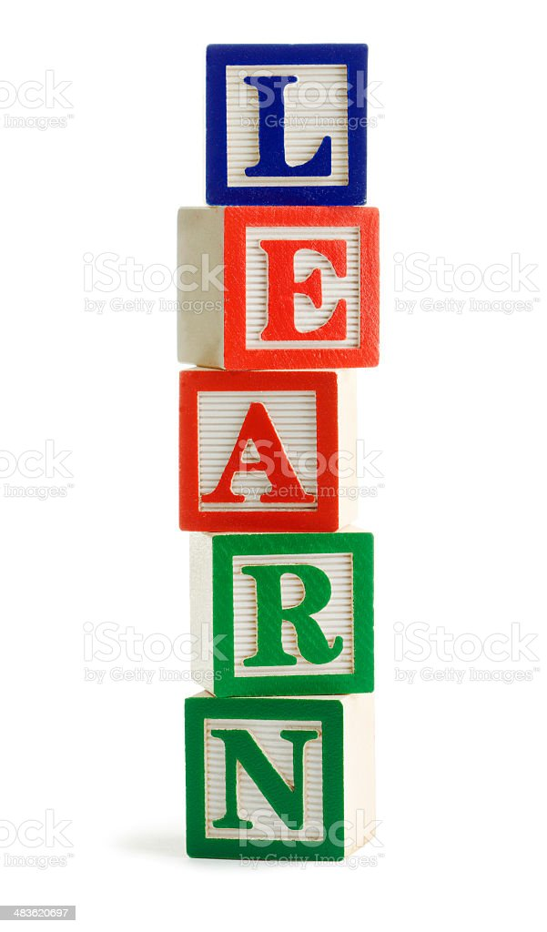 Toy Blocks for Learning, Teaching, Educational Training on White Background royalty-free stock photo