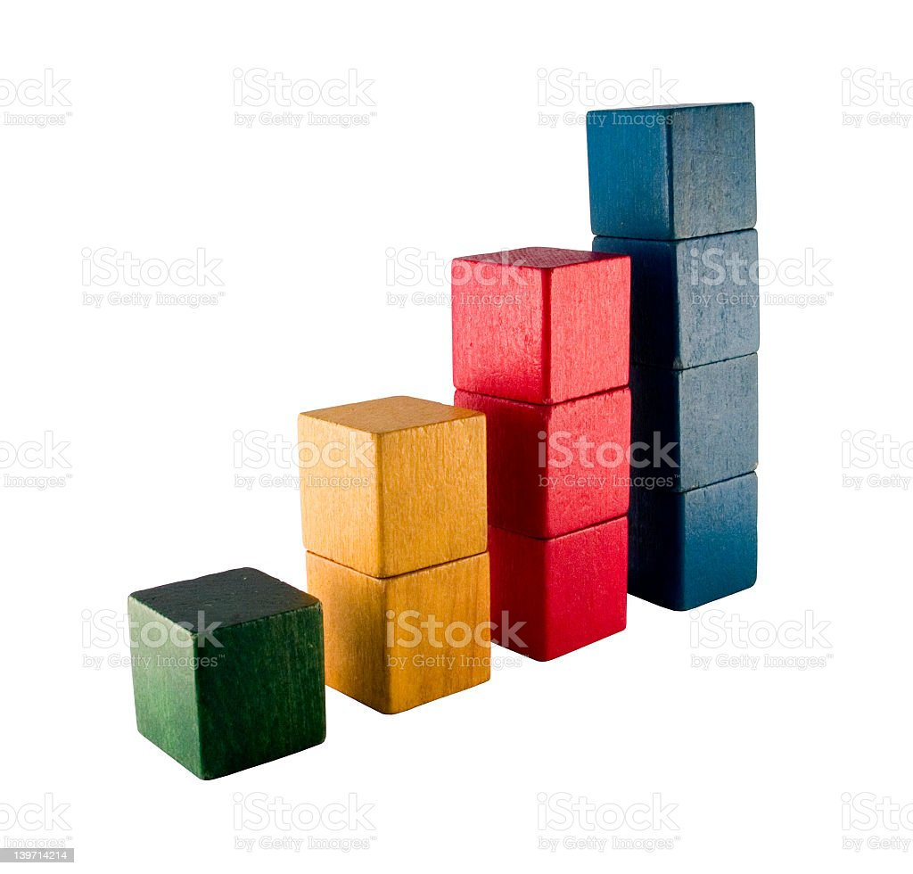 Toy blocks forming a bar graph royalty-free stock photo
