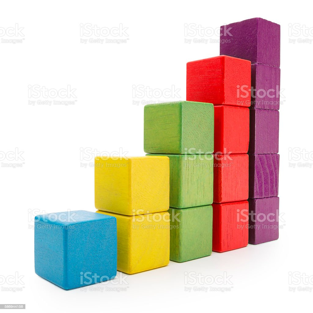 Toy Blocks Infographic Chart Stair Bar, Multicolor Kids Bricks, White stock photo