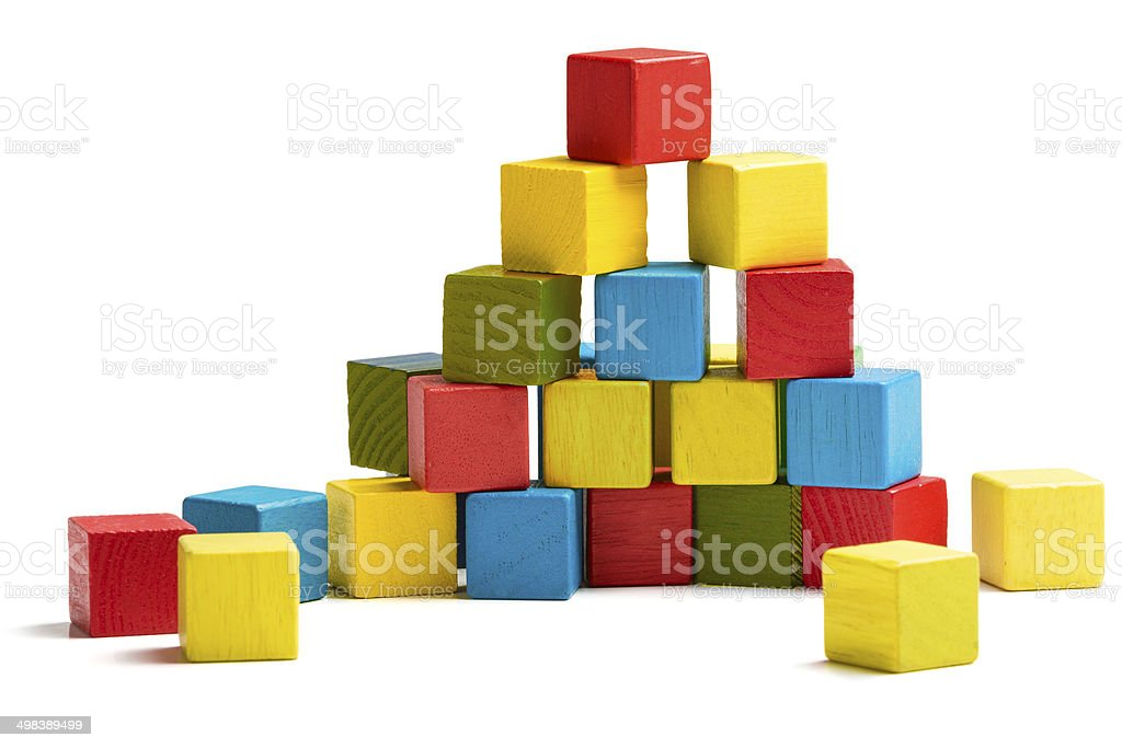 toy blocks pyramid, multicolor wooden bricks stack stock photo