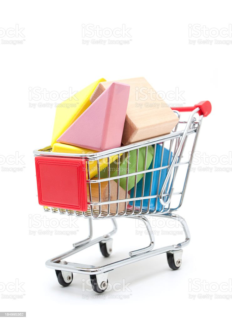 Toy blocks Saled in a shopping cart isolated royalty-free stock photo