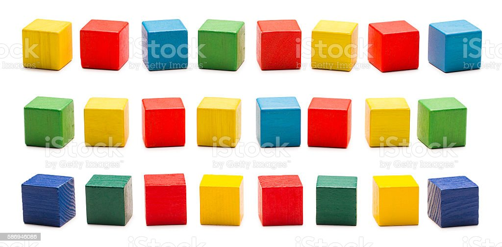 Toy Blocks, Wooden Cube Bricks, Colored Wood Cubic Boxes, White stock photo