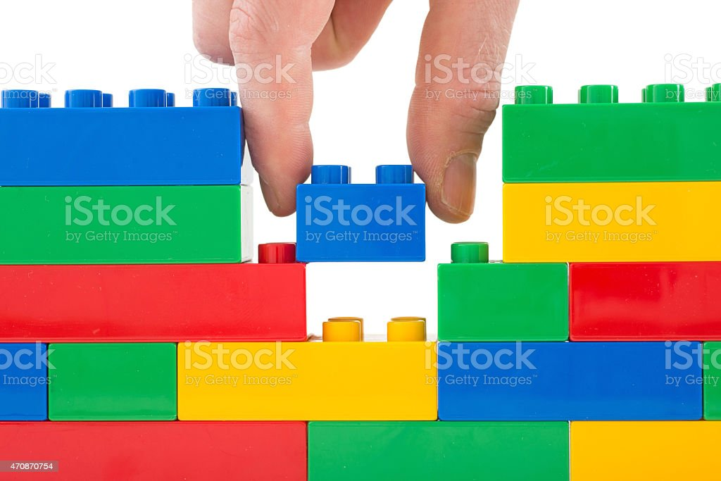 toy bricks wall stock photo