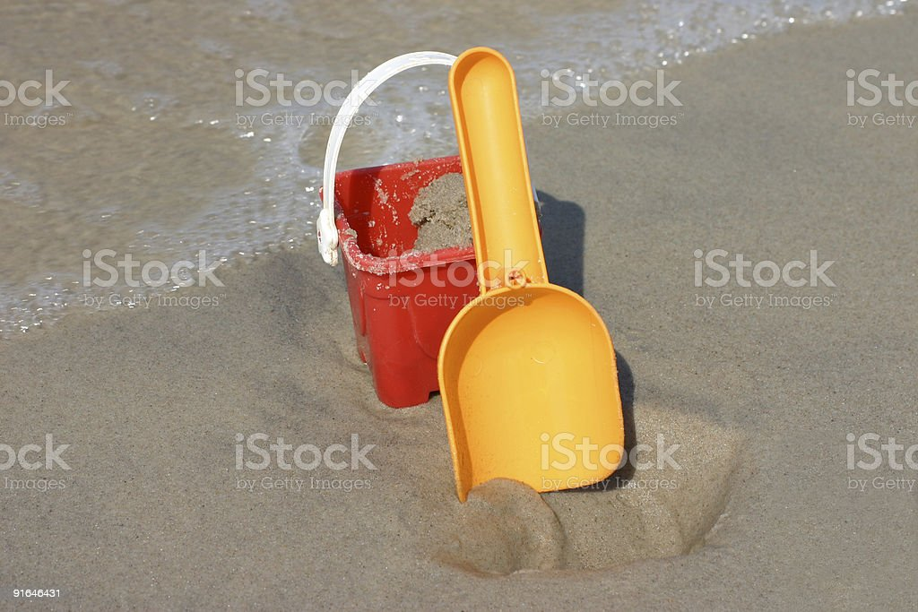 Toy bucket and shovel royalty-free stock photo