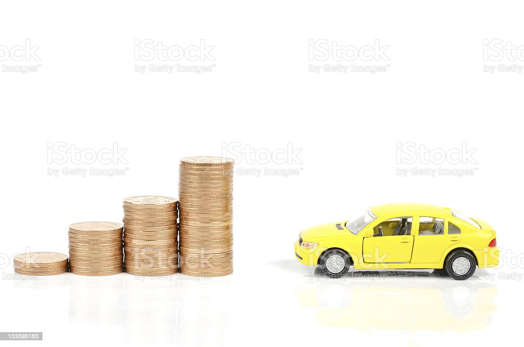 Toy car and coin royalty-free stock photo