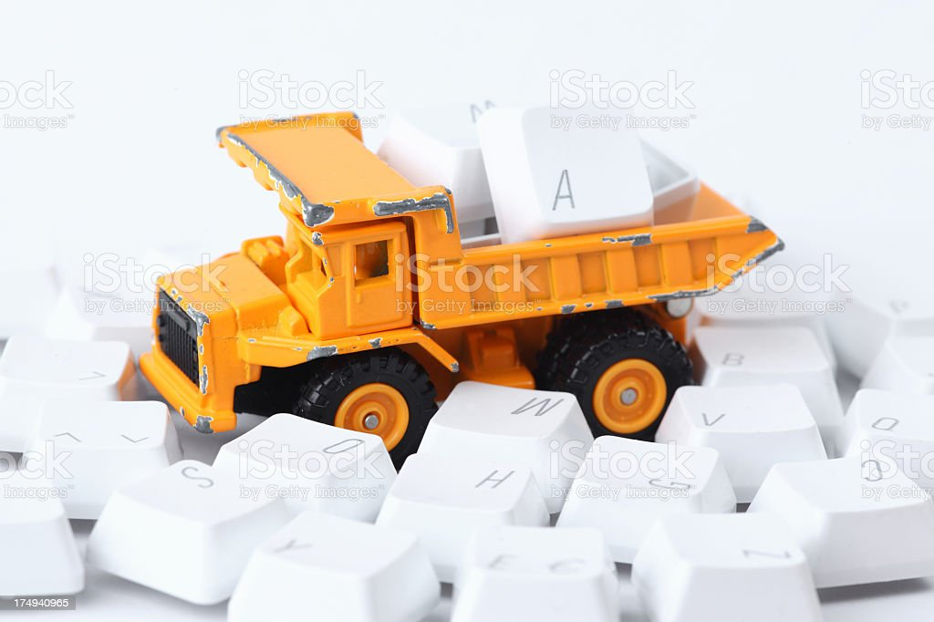 toy car and Computer keyboard button royalty-free stock photo