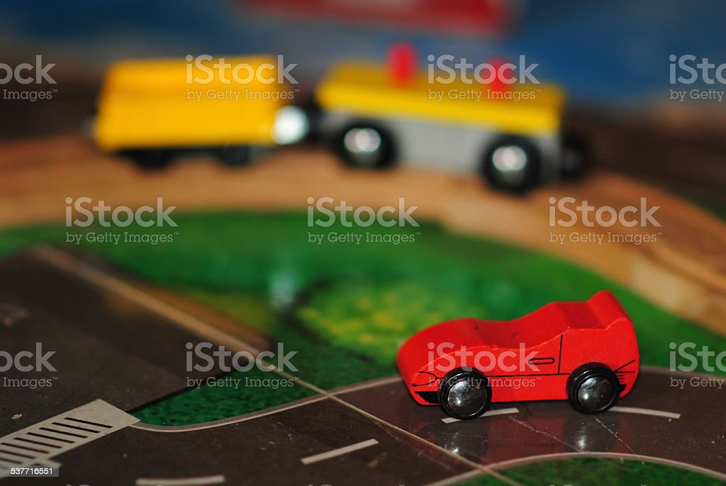 Toy car and train stock photo