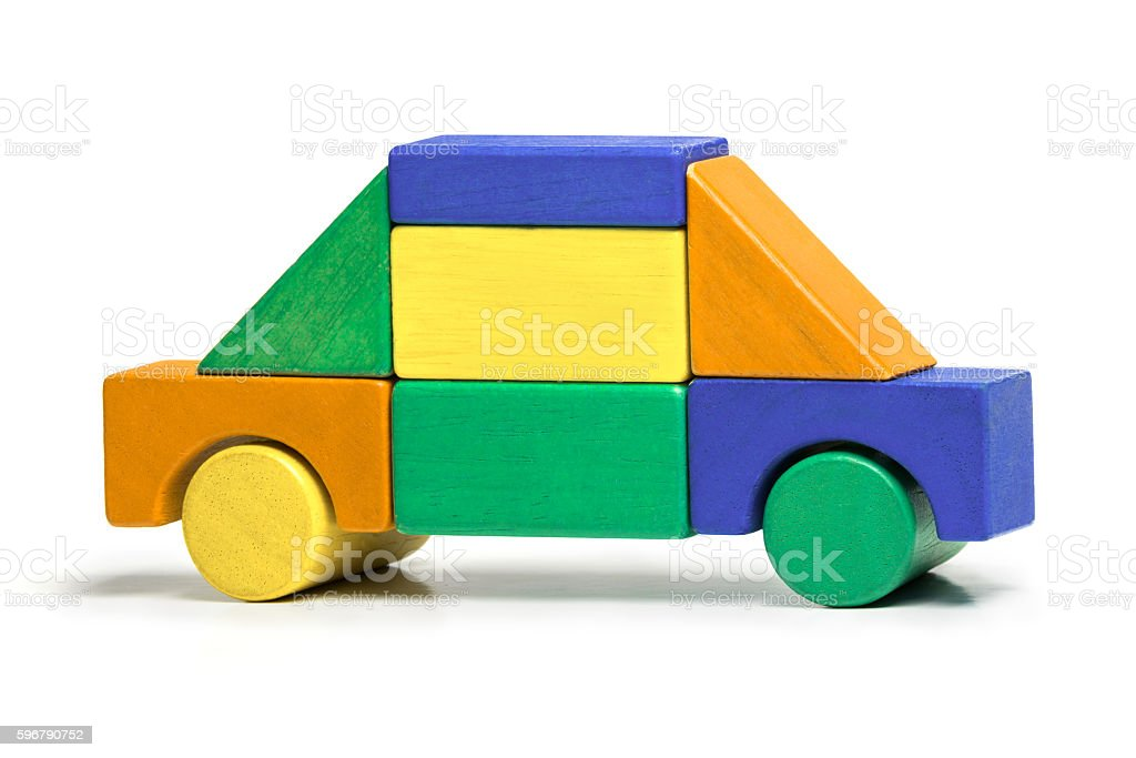Toy Car, Kids Simple Jigsaw, Colors Wooden Blocks White Isolated stock photo