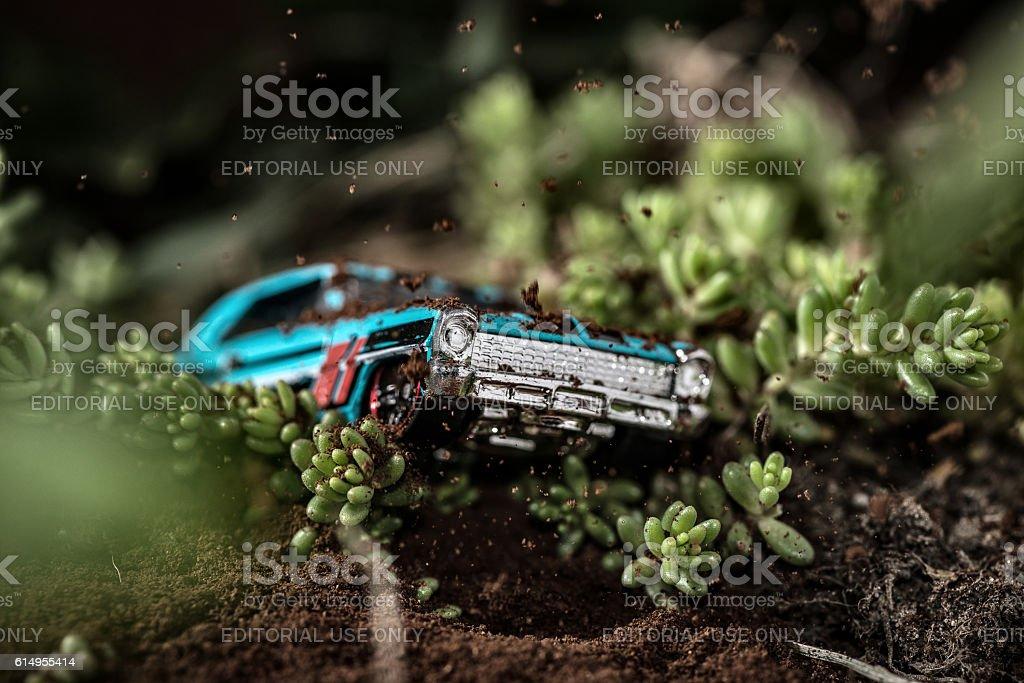 Toy car micro rally stock photo