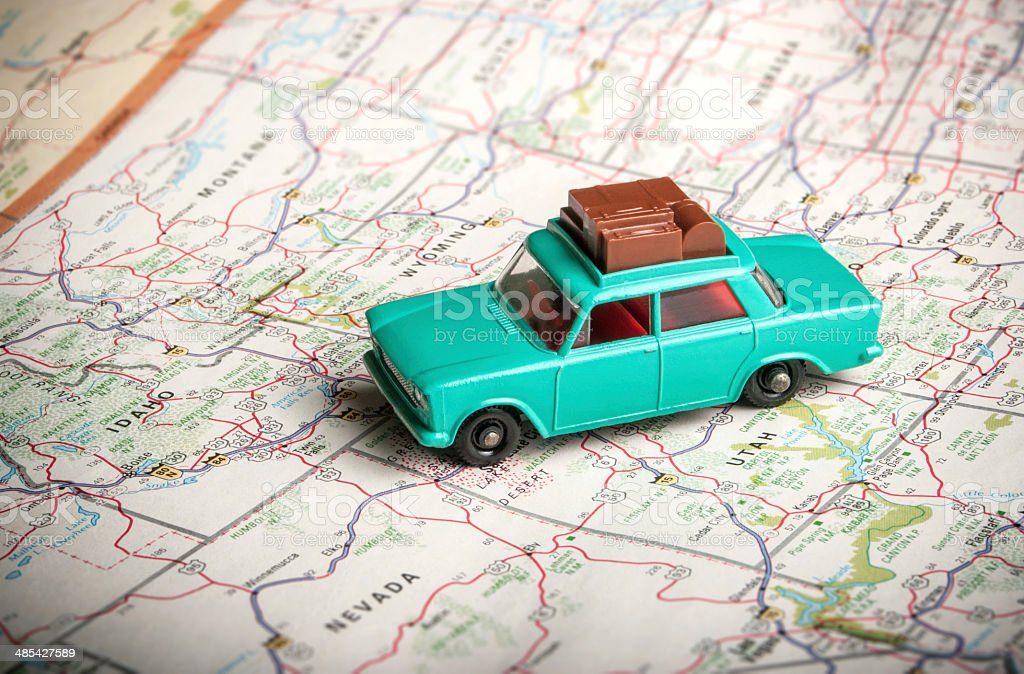 Toy car on a road map stock photo