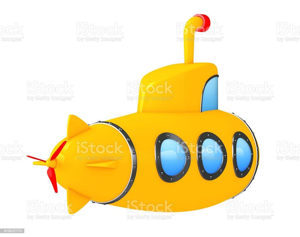 Toy Cartoon Styled Submarine. 3d Rendering stock photo