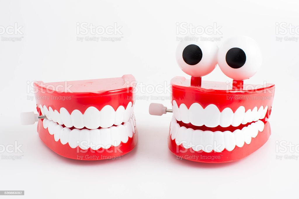 Toy chattering teeth stock photo
