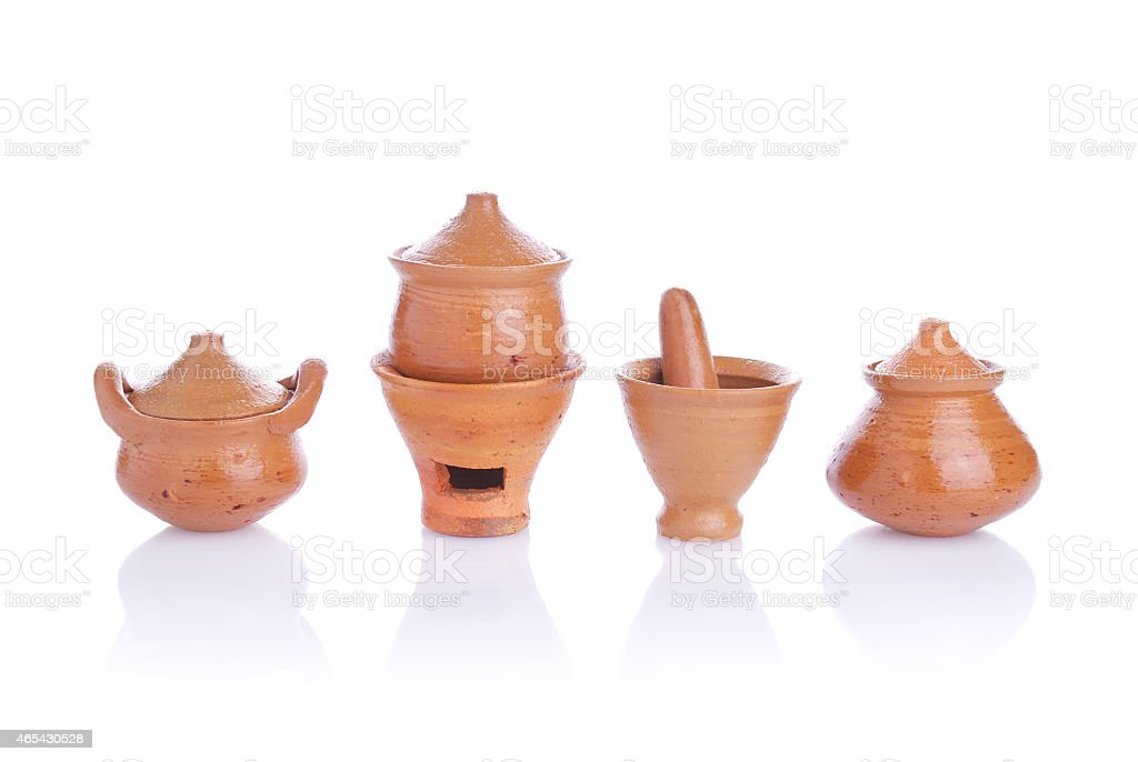 Toy clay pot pottery and kitchenware handmade for child stock photo