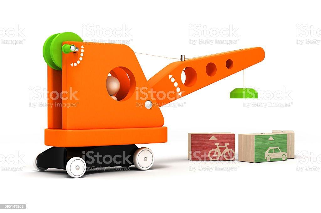 toy crane on white background 3d stock photo