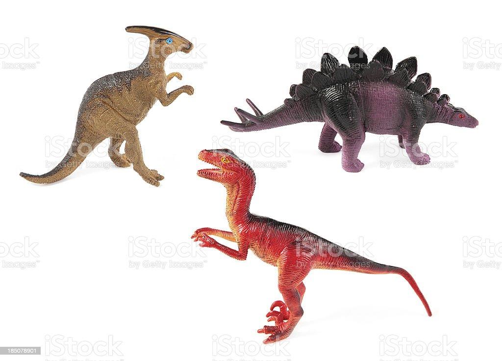 Toy Dinosaurs on white stock photo