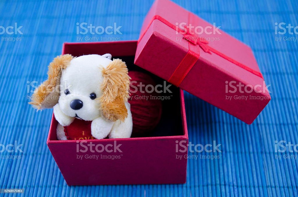 Toy dog in a red present box royalty-free stock photo