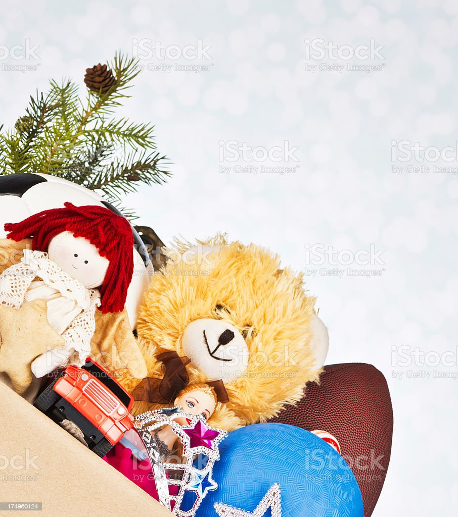 Toy Donation Box with Holiday Pine Branch stock photo
