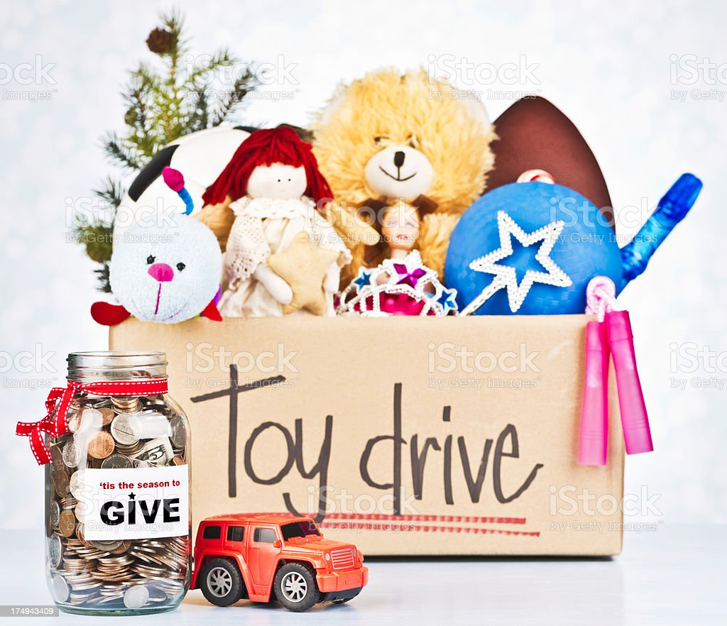 Toy Drive and Donation Jar stock photo
