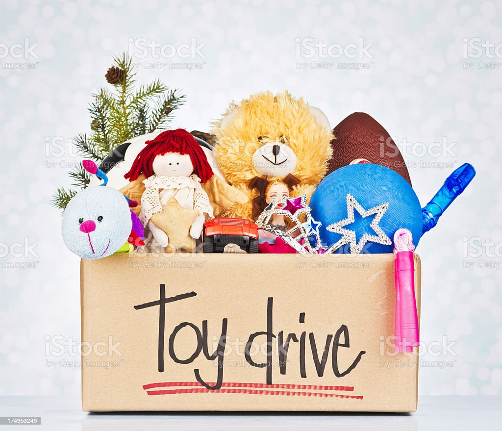 Toy Drive for Christmas stock photo