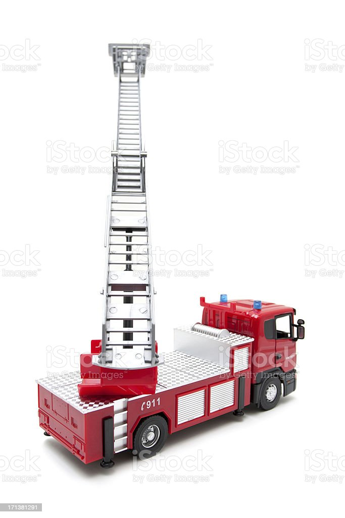 Toy Fire Engine isolated on white background stock photo