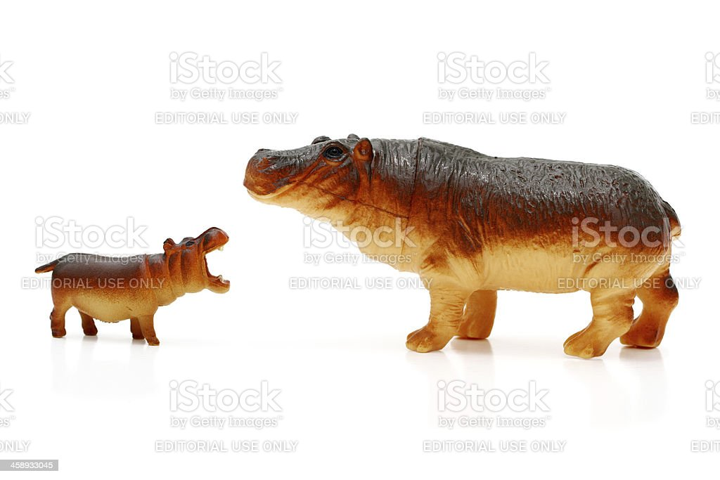 Toy hippos stock photo