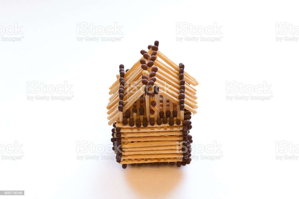 toy house from matches stock photo