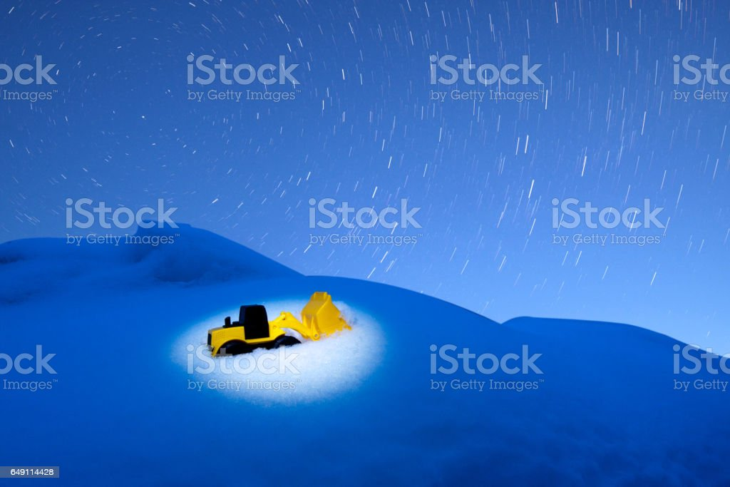 Toy Loader Snow Star Trail stock photo