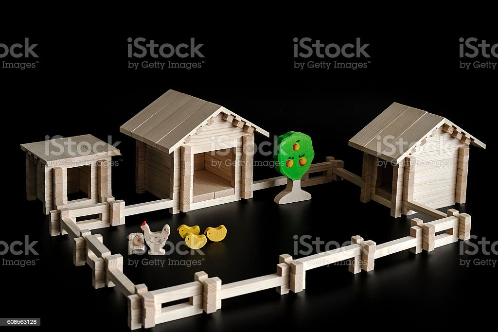 Toy model of farm stock photo