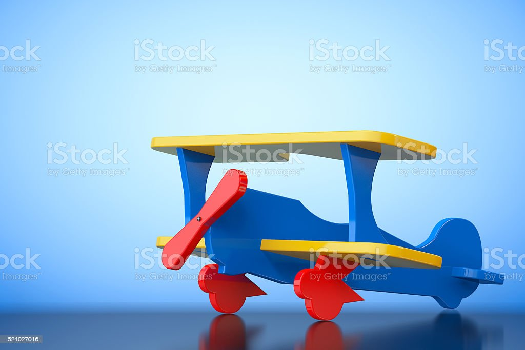Toy Multicoloured Biplane. 3d Rendering stock photo