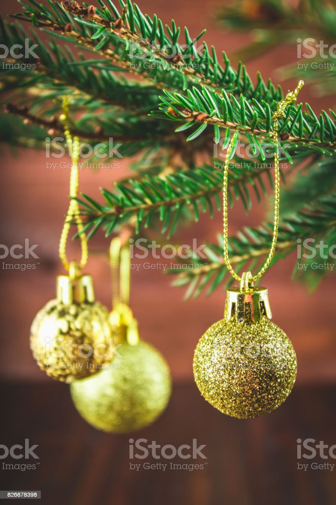 toy on the Christmas tree branch stock photo