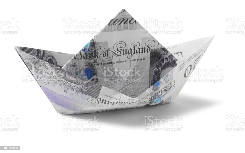 Toy Paper Boat, Made from Twenty British Pounds stock photo