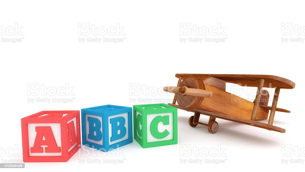 Toy Plane and Learning Blocks stock photo