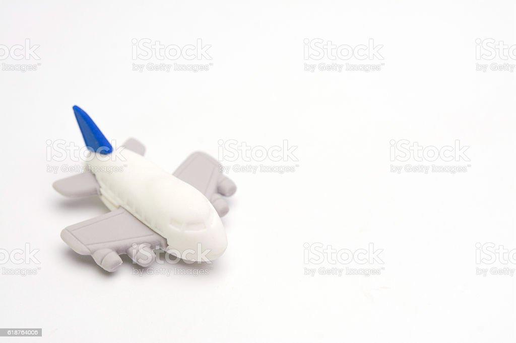 toy plane on white background stock photo