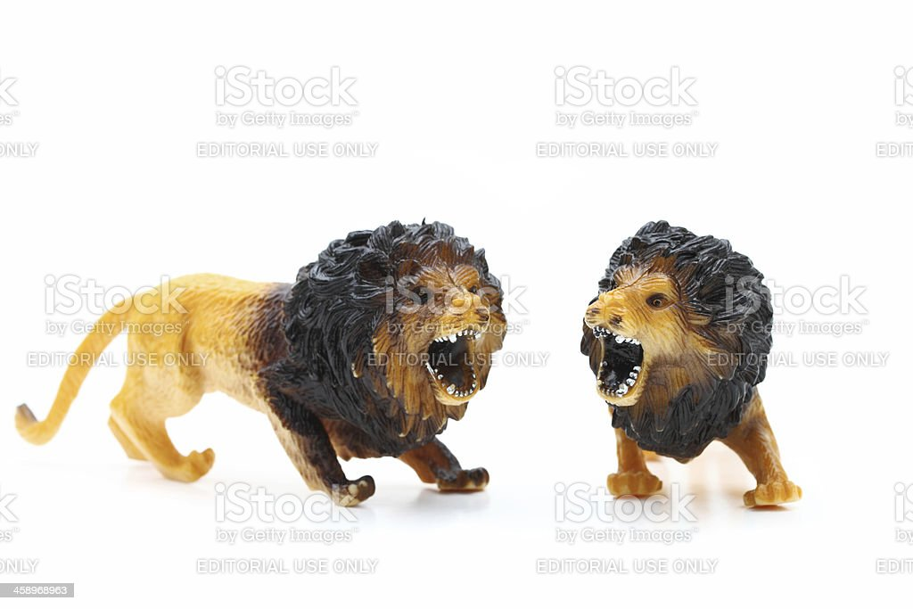Toy roaring lions from Animal Kingdom stock photo