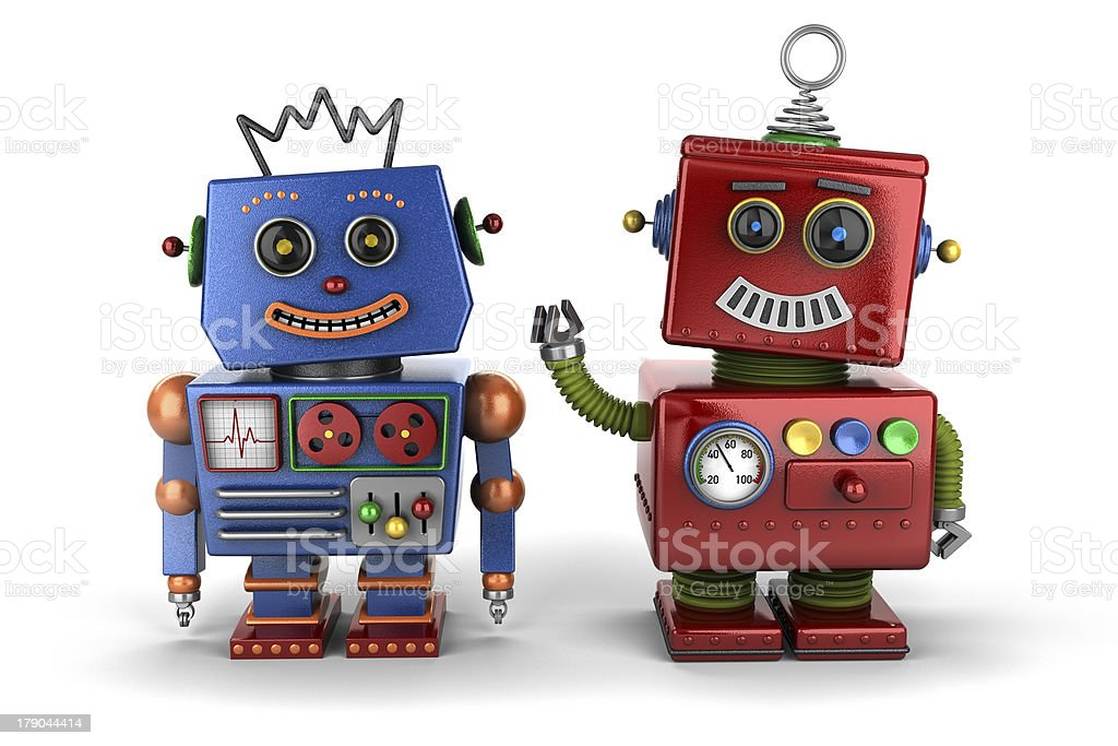 Toy robot buddies stock photo