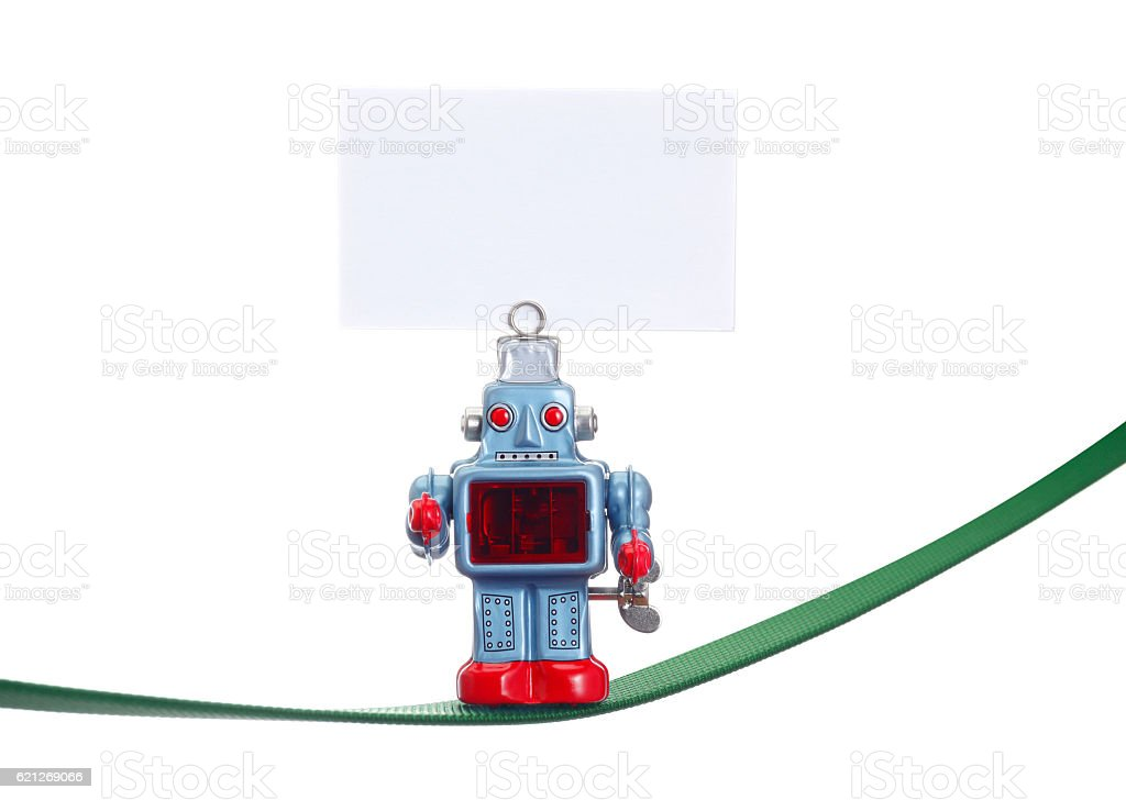 Toy robot has a tightrope stock photo