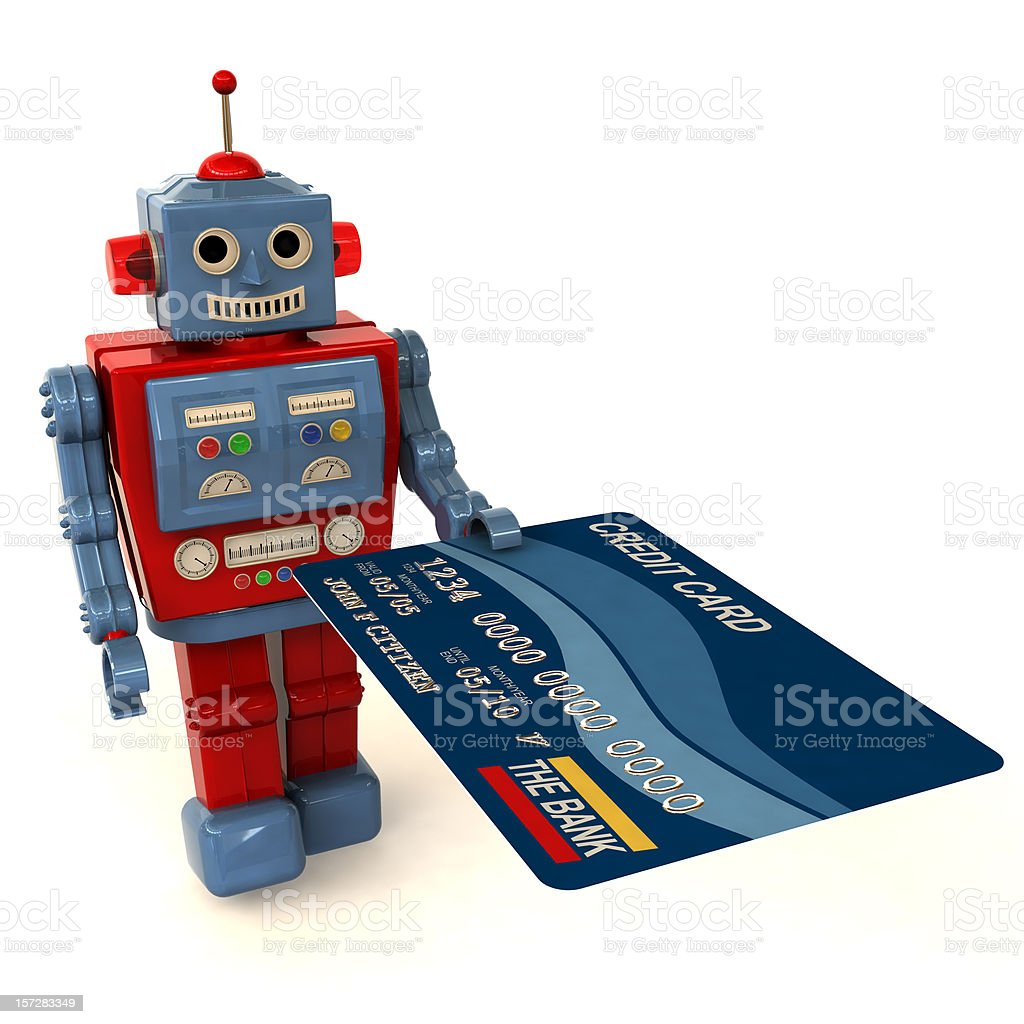 Toy Robot Offering a Credit Card stock photo
