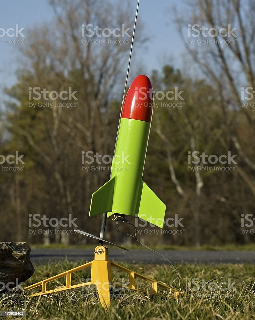 Toy Rocket on Launchpad stock photo