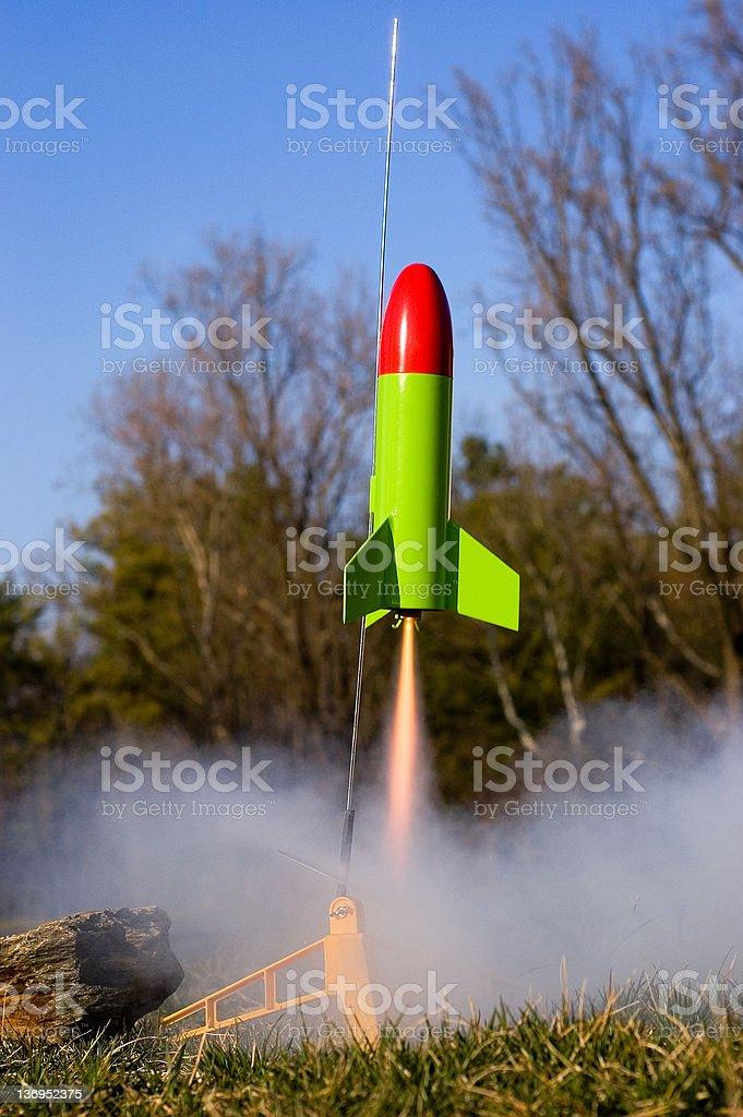 Toy Rocket Takeoff stock photo