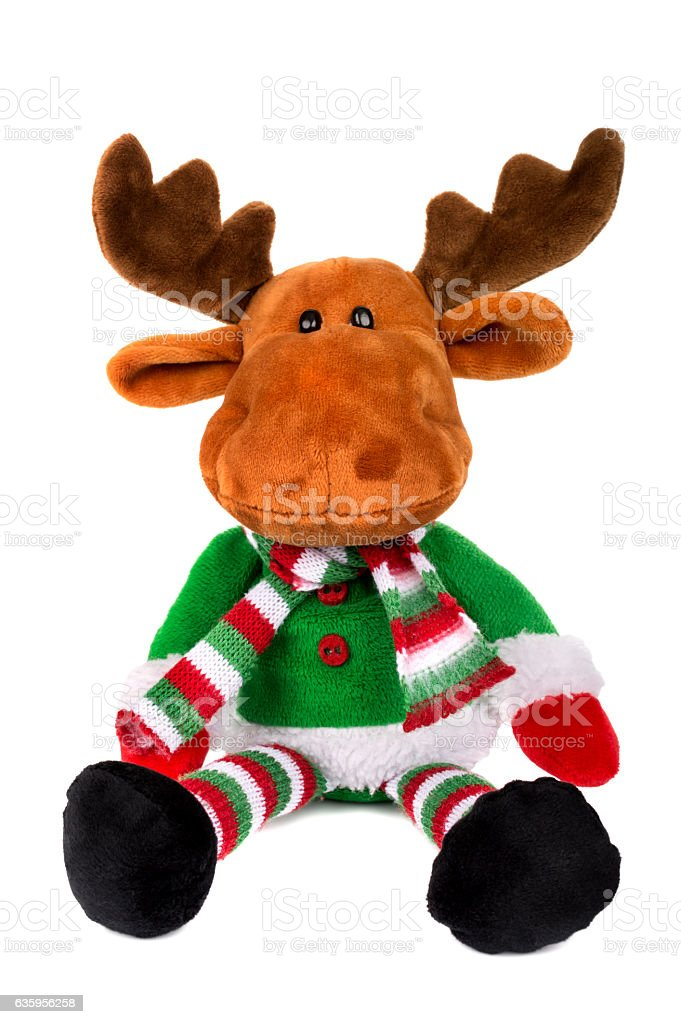 toy santa deer isolated over white stock photo