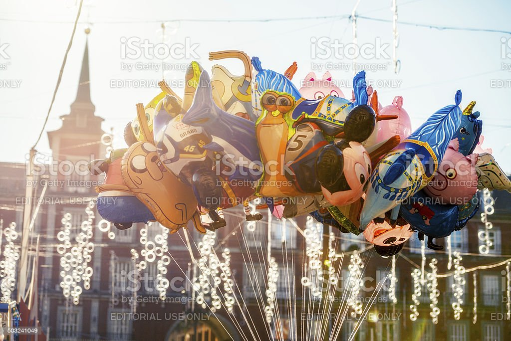Toy Shaped Balloons and Christmas decorations on Plaza Mayor, Sp stock photo