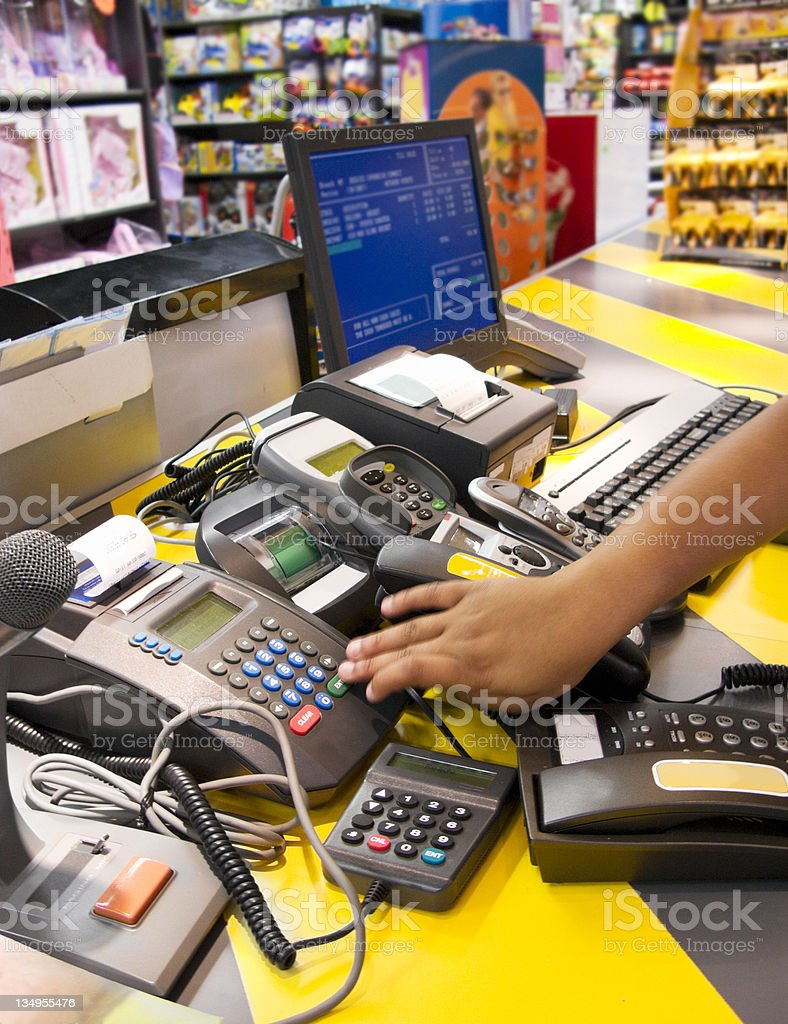 Toy shop checkout stock photo