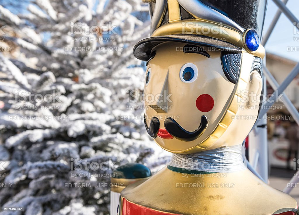 Toy soldier at entrance of christmas market, Paris stock photo