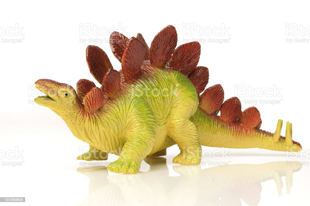Toy Stegosaurus Dinosaur; Colorful, White Background, Extinct Species royalty-free stock photo